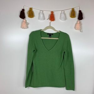 A. Giannetti Green V-Neck Wool Blend Sweater Small